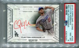 Clayton Kershaw PSA/DNA Certified Authentic Autograph - 2018 Topps Diamond Icons Red Ink #19/25