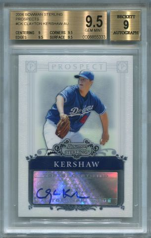 Clayton Kershaw Rookie BGS Certified Authentic Autograph - 2006 Bowman Sterling Prospects