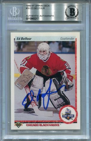 Ed Belfour Rookie BGS Certified Authentic Autograph - 1990 Upper Deck