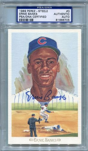 Ernie Banks PSA/DNA Certified Authentic Autograph - Perez-Steele Celebration Postcard