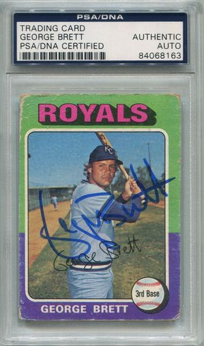 George Brett Rookie PSA/DNA Certified Authentic Autograph - 1975 Topps (8163)