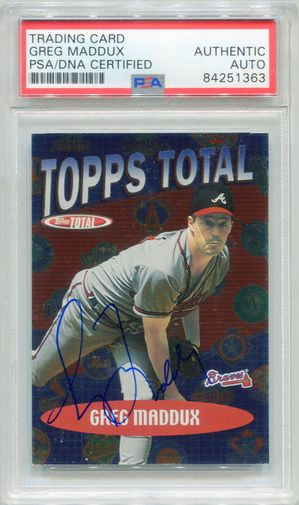 Greg Maddux PSA/DNA Certified Authentic Autograph - 2002 Topps Total