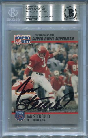 Jan Stenerud (HOF) BGS Certified Authentic Autograph - 1991 Pro Set Super Bowl