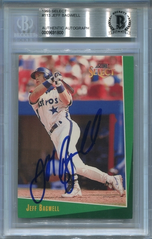 Jeff Bagwell BGS Certified Authentic Autograph - 1993 Score Select