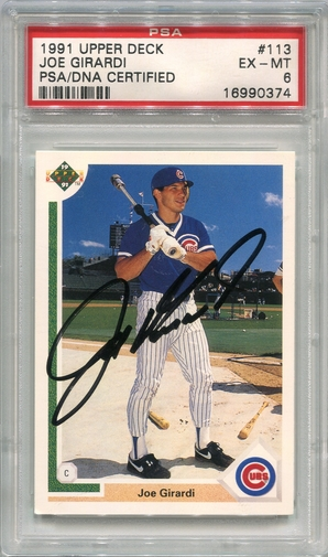 Joe Girardi PSA/DNA Certified Authentic Autograph - 1991 Upper Deck