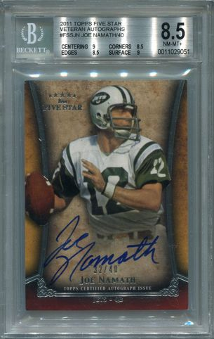 Joe Namath BGS Certified Authentic Autograph - 2011 Topps Five Star Veteran #FSSJN
