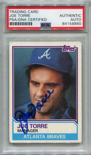 Joe Torre PSA/DNA Certified Authentic Autograph - 1983 Topps