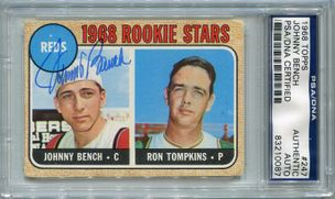 Johnny Bench Rookie PSA/DNA Certified Authentic Autograph - 1968 Topps (0087)
