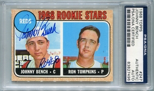 Johnny Bench Rookie PSA/DNA Certified Authentic Autograph - 1968 Topps (BL7496)