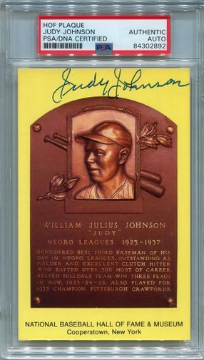 Judy Johnson PSA/DNA Certified Authentic Autograph - Hall of Fame Plaque Postcard