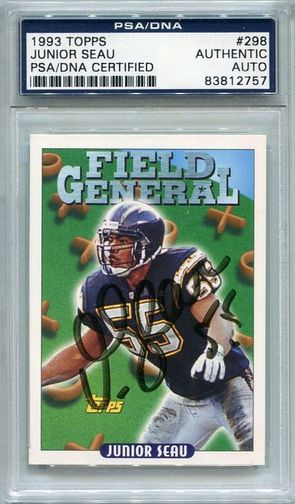 Junior Seau PSA/DNA Certified Authentic Autograph - 1993 Topps