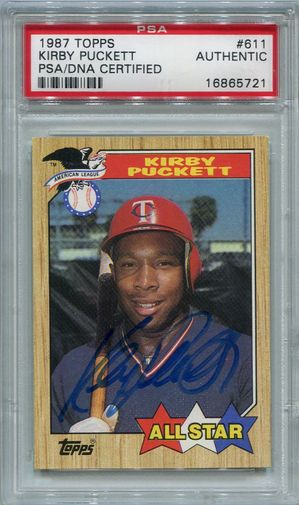 Kirby Puckett PSA/DNA Certified Authentic Autograph - 1987 Topps