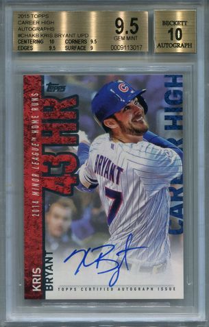 Kris Bryant BGS Certified Authentic Autograph - 2015 Topps Career High #CHAKBU
