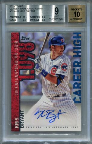 Kris Bryant BGS Certified Authentic Autograph - 2015 Topps Career High #CHAKB
