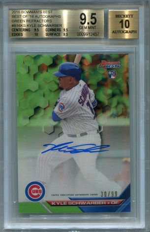 Kyle Schwarber BGS Certified Authentic Autograph - 2016 Bowman's Best Green Refractor