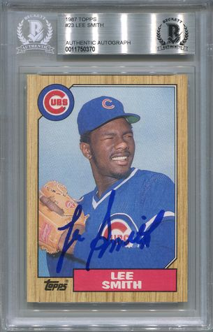 Lee Smith BGS Certified Authentic Autograph - 1987 Topps