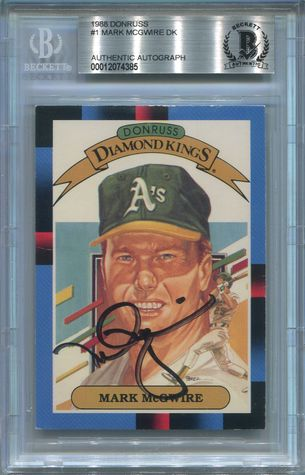 Mark McGwire BGS Certified Authentic Autograph - 1988 Donruss Diamond Kings