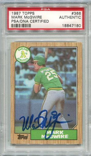 Mark McGwire PSA/DNA Certified Authentic Autograph - 1987 Topps