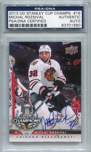 Michal Rozsival PSA/DNA Certified Authentic Autograph - 2013 UD Stanley Cup Champs