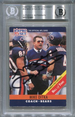 Mike Ditka BGS Certified Authentic Autograph - 1990 Pro Set