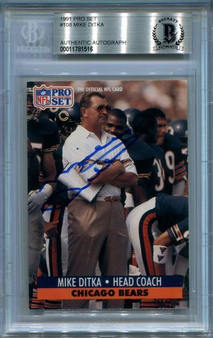 Mike Ditka BGS Certified Authentic Autograph - 1991 Pro Set