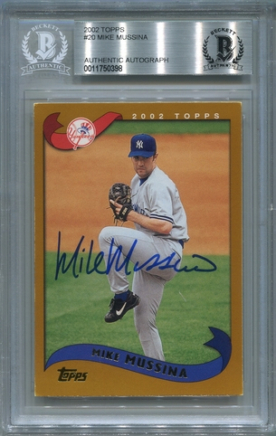 Mike Mussina BGS Certified Authentic Autograph - 2002 Topps