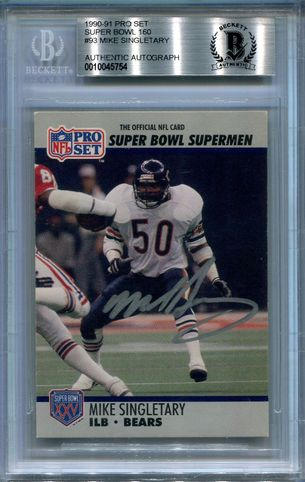 Mike Singletary BGS Certified Authentic Autograph - 1990 Pro Set Super Bowl (5754)