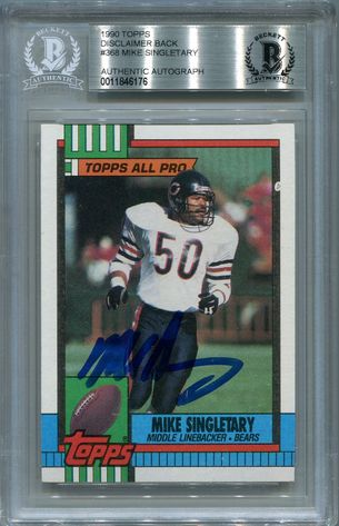 Mike Singletary BGS Certified Authentic Autograph - 1990 Topps #368