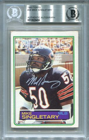 Mike Singletary Rookie BGS Certified Authentic Autograph - 1983 Topps