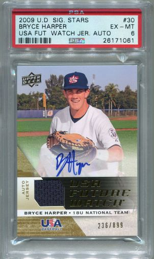 Bryce Harper Rookie PSA/DNA Certified Authentic Autograph - 2009 Upper Deck Signature Stars #236/899