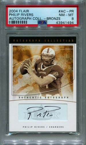 Philip Rivers Rookie PSA/DNA Certified Authentic Autograph - 2004 Flair Bronze #273/350