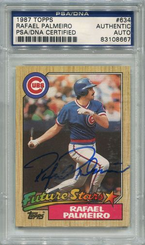 Rafael Palmeiro Rookie PSA/DNA Certified Authentic Autograph - 1987 Topps (8667)