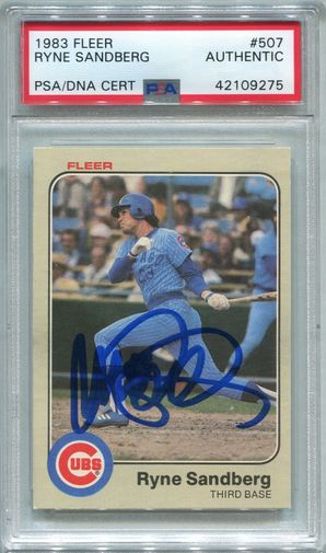 Ryne Sandberg Rookie PSA/DNA Certified Authentic Autograph - 1983 Fleer