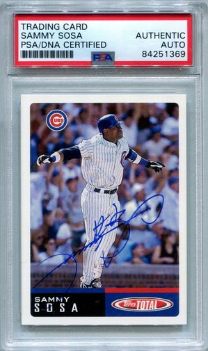 Sammy Sosa PSA/DNA Certified Authentic Autograph - 2002 Topps Total #10
