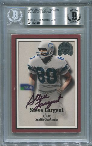 Steve Largent BGS Certified Authentic Autograph - 2000 Greats Of The Game