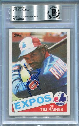 Tim Raines BGS Certified Authentic Autograph - 1985 Topps