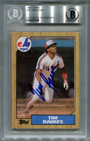 Tim Raines BGS Certified Authentic Autograph - 1987 Topps