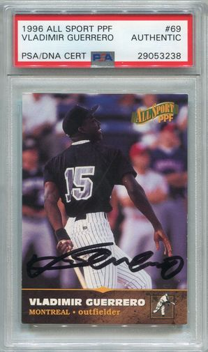 Vladimir Guerrero PSA/DNA Certified Authentic Autograph - 1996 All Sport #69