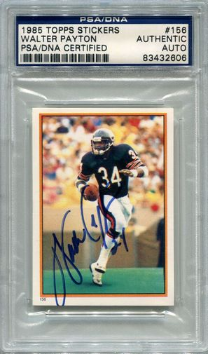 Walter Payton PSA/DNA Certified Authentic Autograph - 1985 Topps Stickers