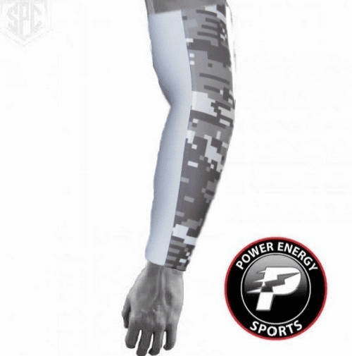 Baseball Compression Arm Sleeve - Two Sided (Grey Camo / White)