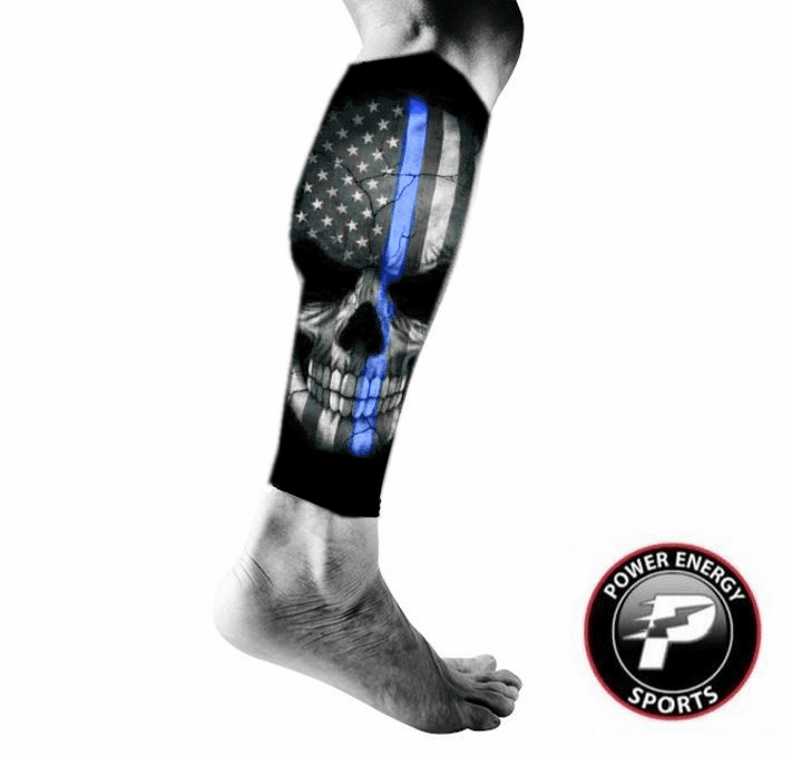 Calf Running Compression Sleeves 2pc Set (Pair) Police Blue Line Skull Flag