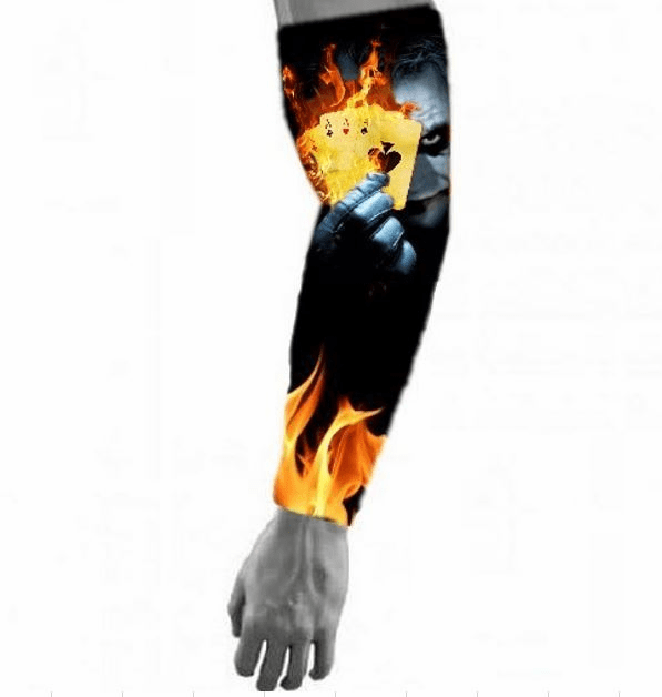 Compression Arm Sleeve Joker Flaming Ace Cards