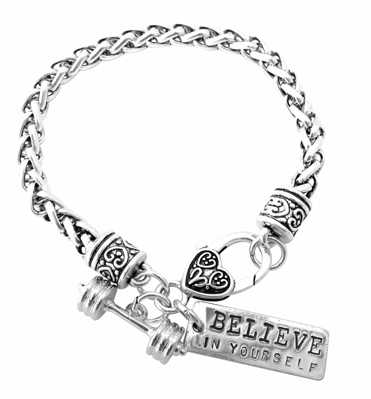 "CrossFit Training Weight Lifting Fitness Dumbbell Barbell Silver Charm Bracelet ""Believe In Yourself"""