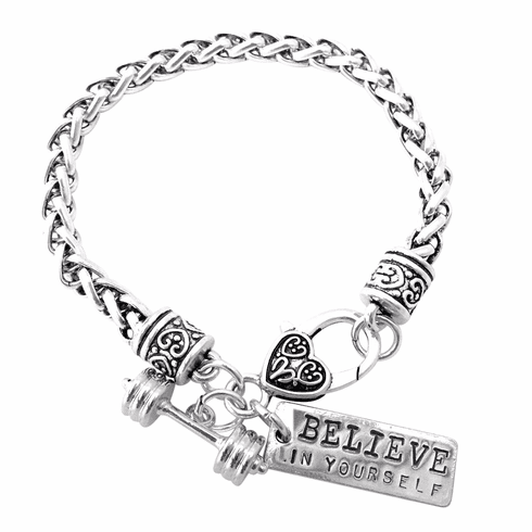 """CrossFit Training Weight Lifting Fitness Dumbbell Barbell Silver Charm Bracelet """"Believe In Yourself"""""""