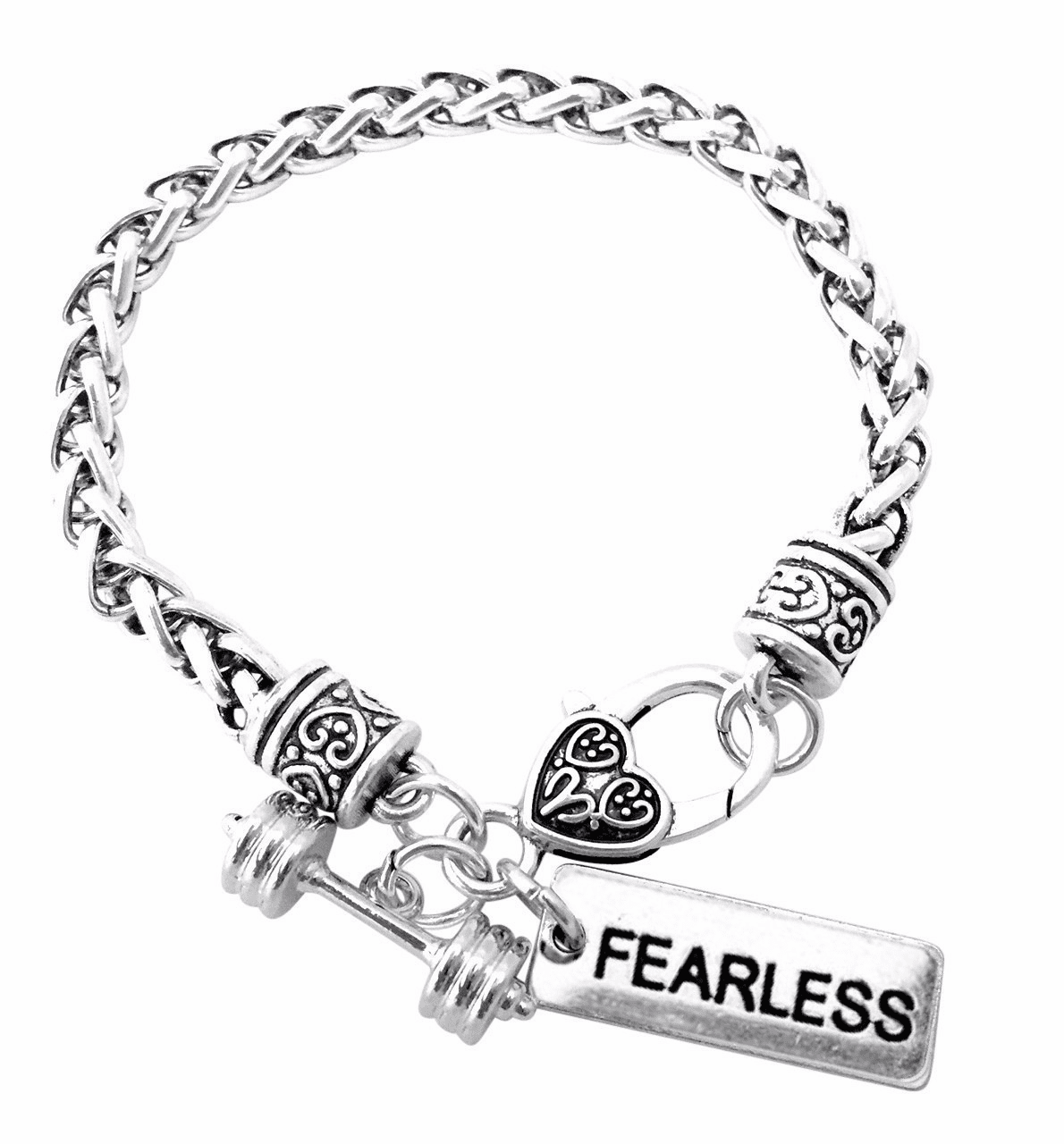"CrossFit Training Weight Lifting Fitness Dumbbell Barbell Silver Charm Bracelet ""Fearless"""