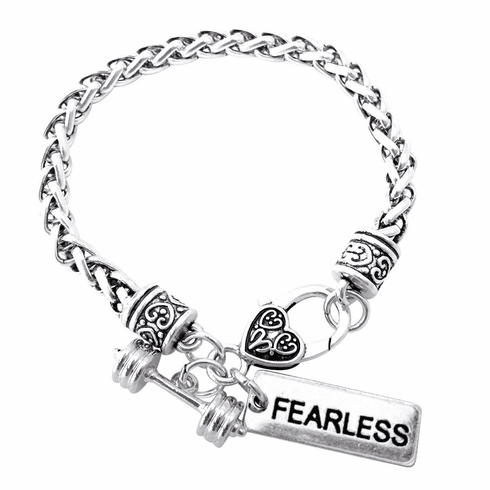 """CrossFit Training Weight Lifting Fitness Dumbbell Barbell Silver Charm Bracelet """"Fearless"""""""