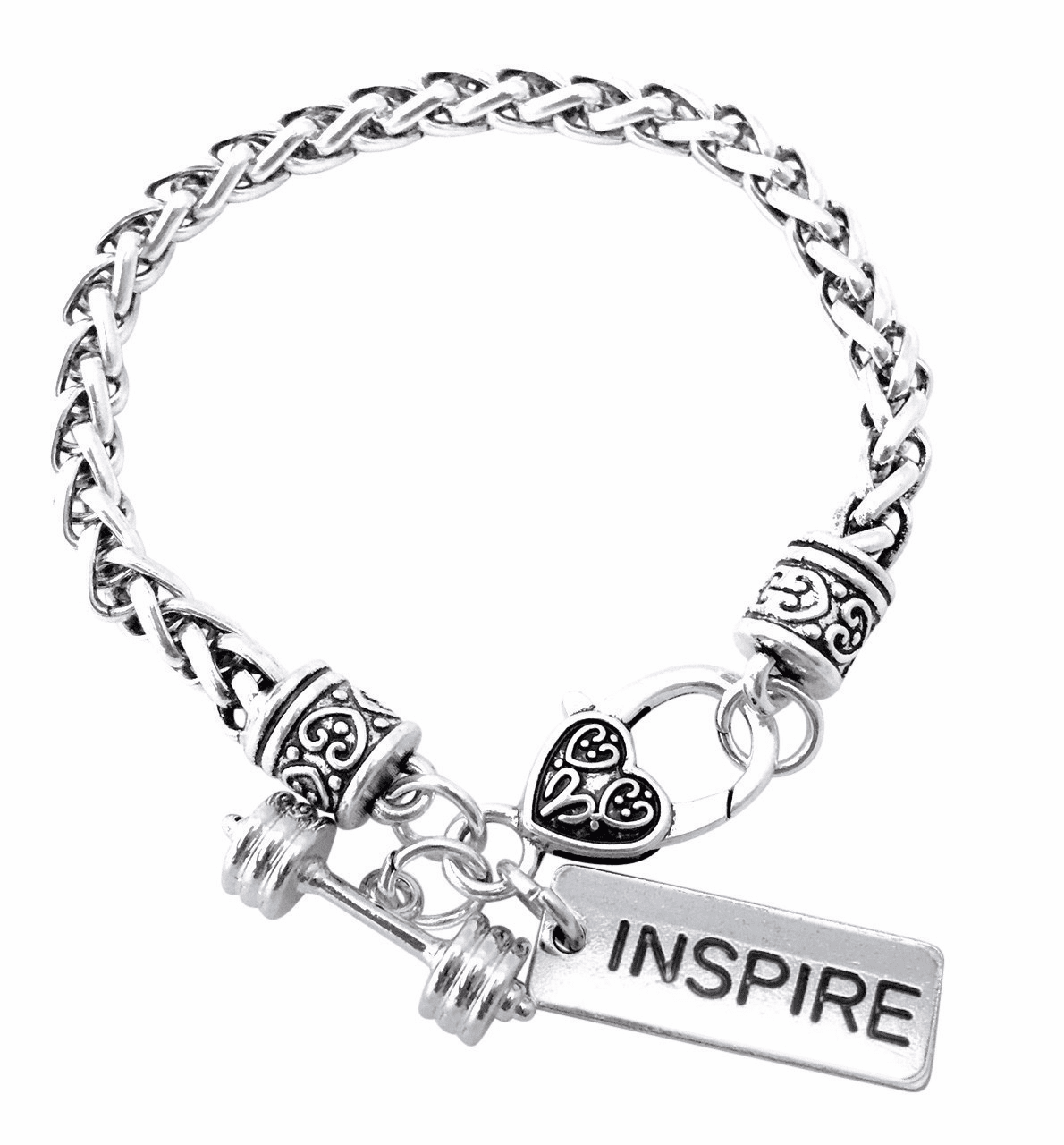"CrossFit Training Weight Lifting Fitness Dumbbell Barbell Silver Charm Bracelet ""Inspire"""