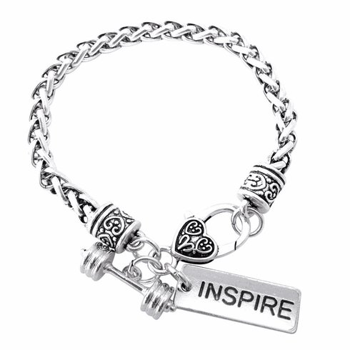 """CrossFit Training Weight Lifting Fitness Dumbbell Barbell Silver Charm Bracelet """"Inspire"""""""