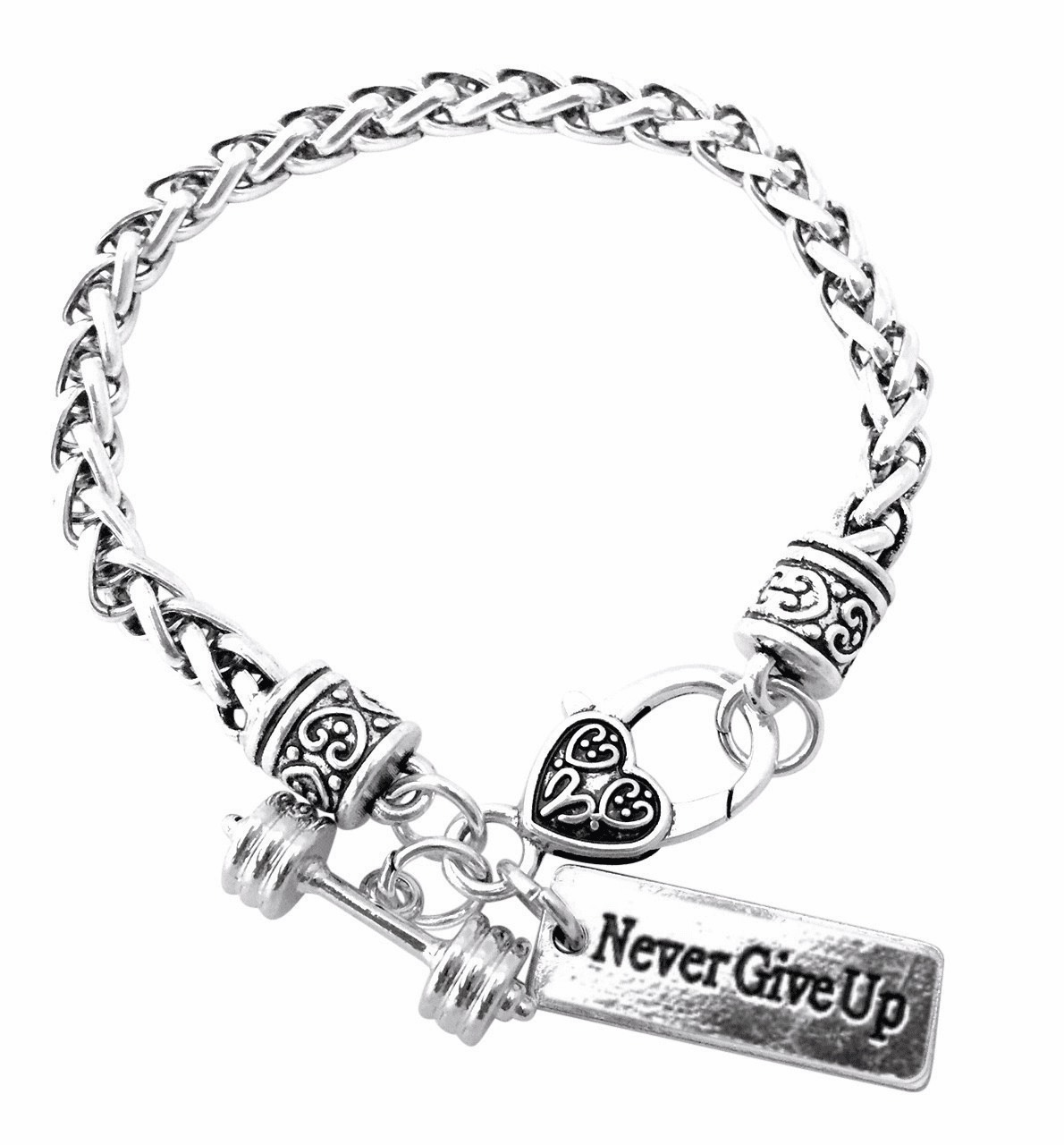 "CrossFit Training Weight Lifting Fitness Dumbbell Barbell Silver Charm Bracelet ""Never Give Up"""