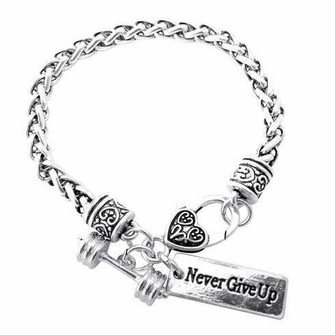 """CrossFit Training Weight Lifting Fitness Dumbbell Barbell Silver Charm Bracelet """"Never Give Up"""""""